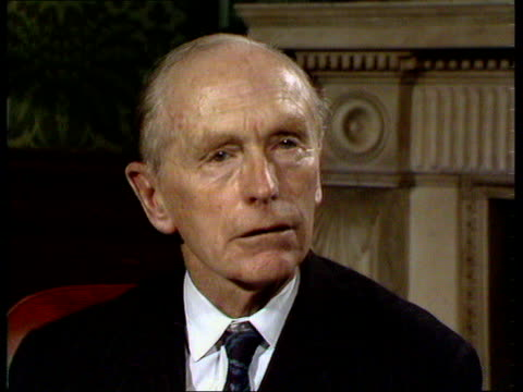 sir alec douglas-home interview; england: london: int sir alec douglas-home mp interview sot - on trying to find a formula to stop war in middle east... - mp stock-videos und b-roll-filmmaterial