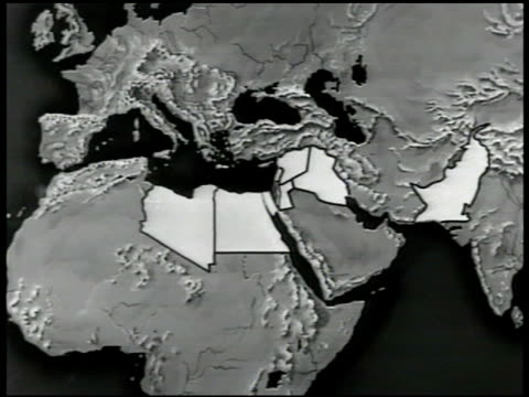 map middle east map w/ muslim independant countries highlighted - arabien stock-videos und b-roll-filmmaterial
