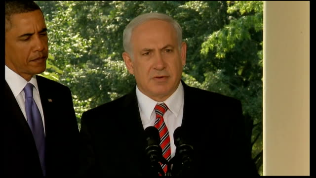 middle east peace talks / members of hamas arrested following shootings on west bank; benjamin netanyahu press conference with obama in background... - benjamin netanyahu stock videos & royalty-free footage
