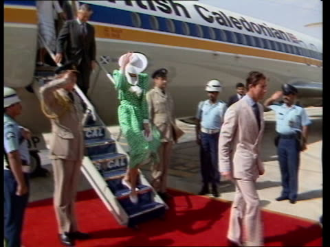 middle east royal tour day 8 b saudi arabia riyadh diana charles off plane greeted by prince sultan - golfstaaten stock-videos und b-roll-filmmaterial