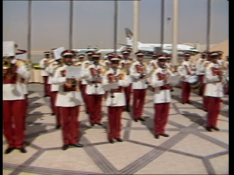 Middle East Royal Tour Day 8 British National Anthem played Charles inspects Guard of Honour