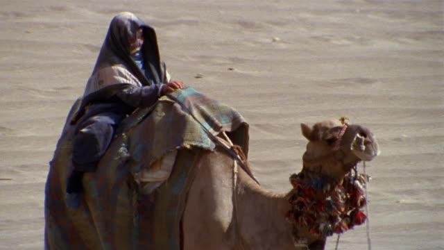 cu, pan, middle east, woman riding camel in desert - ベドウィン族点の映像素材/bロール
