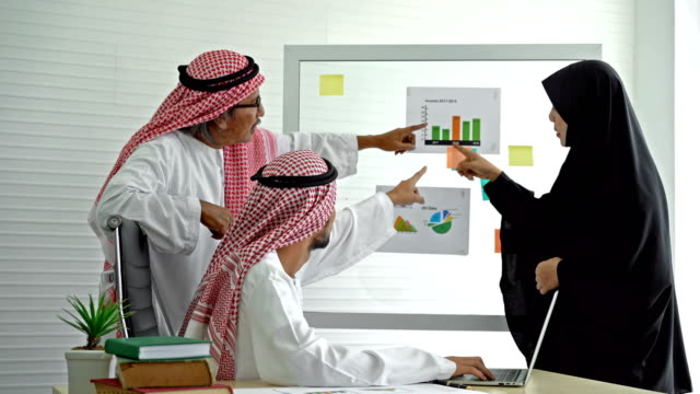 middle eastern businessman and businesswoman discussing the financial report on transparent wipe board in the modern office - financial occupation stock videos & royalty-free footage