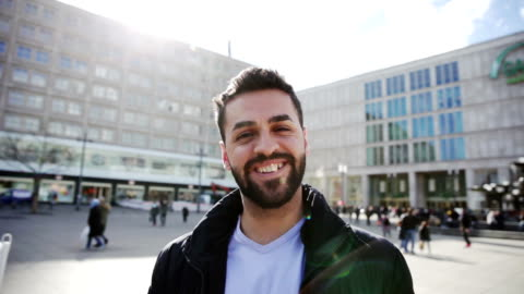 middle eastern man in berlin - germany - one young man only stock videos & royalty-free footage