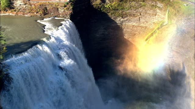 middle falls  - aerial view - new york,  livingston county,  united states - niagara falls stock videos and b-roll footage