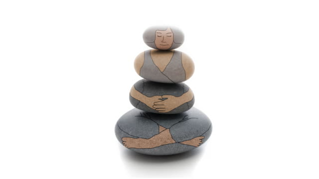 middle mindfulness woman drawn on zen tower - buddhism stock videos & royalty-free footage