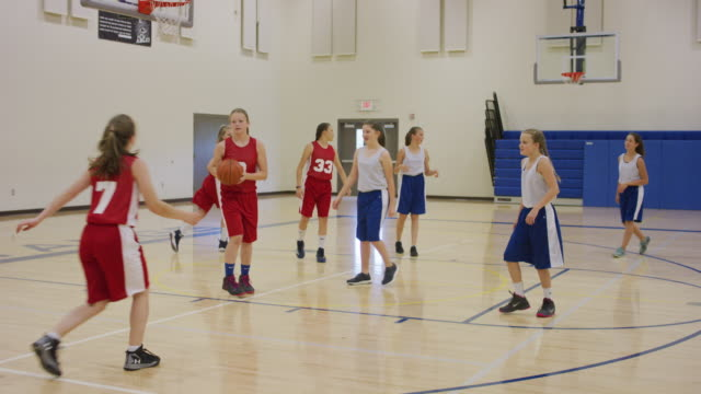 middle school girls basketball game - basketball sport stock videos & royalty-free footage