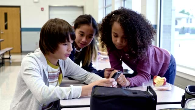 vídeos de stock e filmes b-roll de middle school student look at a smartphone during lunch - aluna da escola secundária
