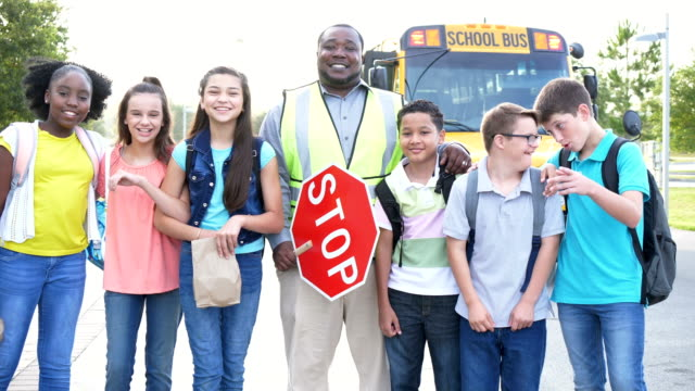 middle school students, crossing guard, boy with downs - 12 13 years stock videos & royalty-free footage