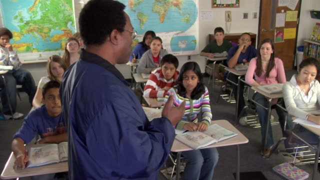 a middle school teacher addresses his students. - junior high stock videos & royalty-free footage
