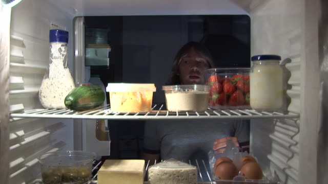 midnight feast - from inside refrigerator hd & pal - refrigerator stock videos and b-roll footage