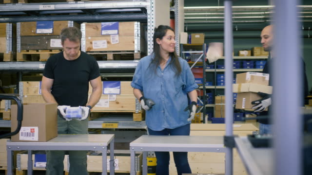 stockvideo's en b-roll-footage met midsection of worker scanning bar code on cardboard boxes while female colleague pushing trolley at warehouse - partnerschap