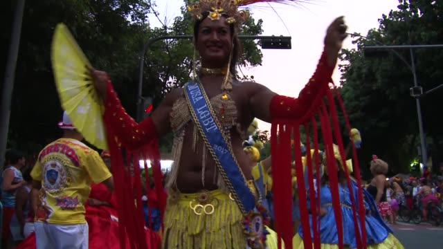 Mid-shot: LGBT Queen At Rio Carnival