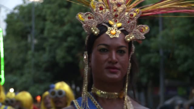 Mid-shot: LGBT Queen At Rio Carnival