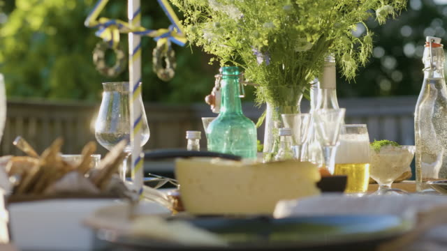 midsummer dinner in sweden - swedish culture stock videos & royalty-free footage