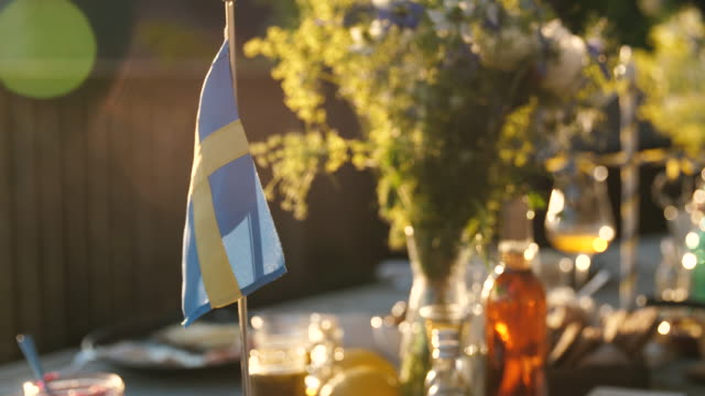 midsummer dinner - swedish culture stock videos & royalty-free footage
