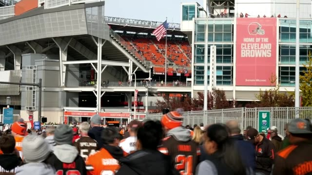 donald trump hosts rally in georgia usa cleveland cleveland browns football fans arriving at firstenergy stadium ahead of game and holding tailgate... - cleveland browns stadium stock videos & royalty-free footage