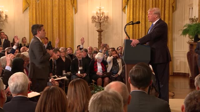 donald trump press conference cutaways; usa: washington dc: the white house: jim acosta asking question sot donald trump response sot white house... - künstlich stock-videos und b-roll-filmmaterial