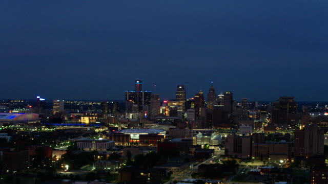 Midtown Detroit Woodward Night Aerial
