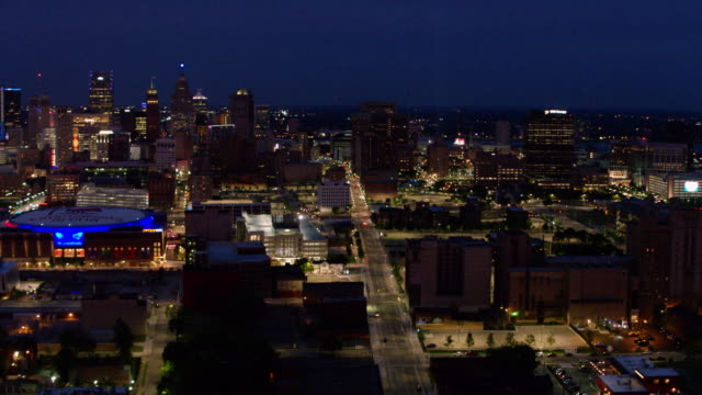 midtown detroit woodward night aerial - detroit michigan stock videos & royalty-free footage