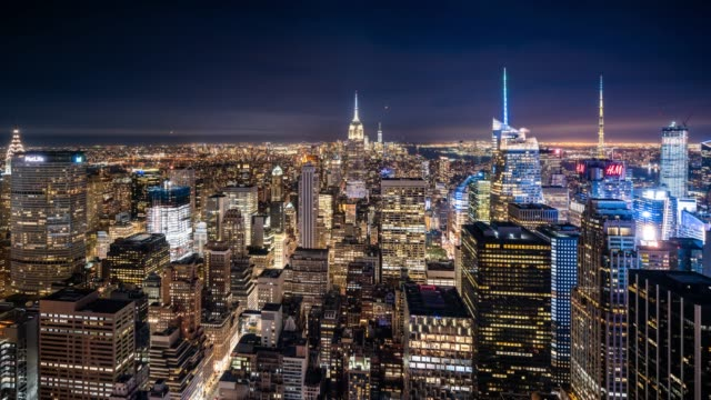 t/l ws ha midtown manhattan at night / new york city, usa - empire state building stock videos & royalty-free footage