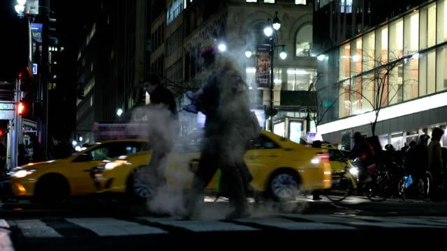 Midtown Manhattan Zebrastreifen in der Nacht