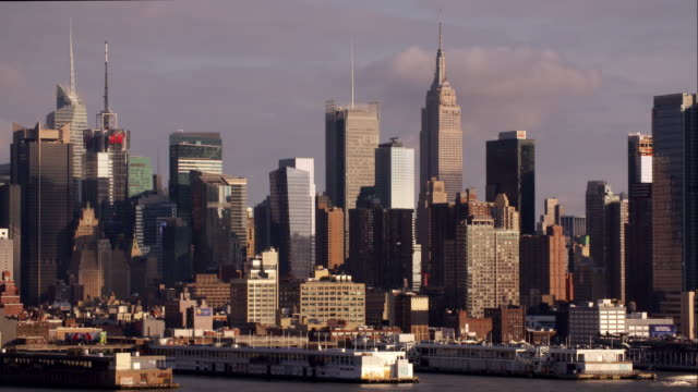 Midtown Manhattan Skyline bathed in Golden light at the end of the day.