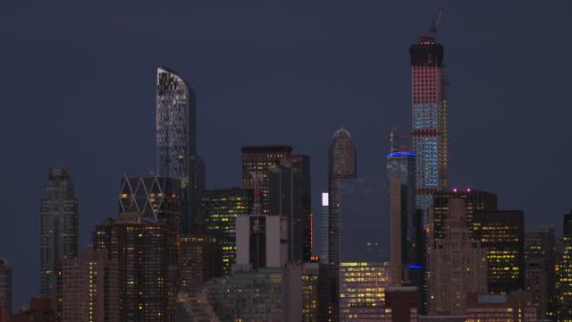 midtown manhattan skyline on a december night - top video stock e b–roll