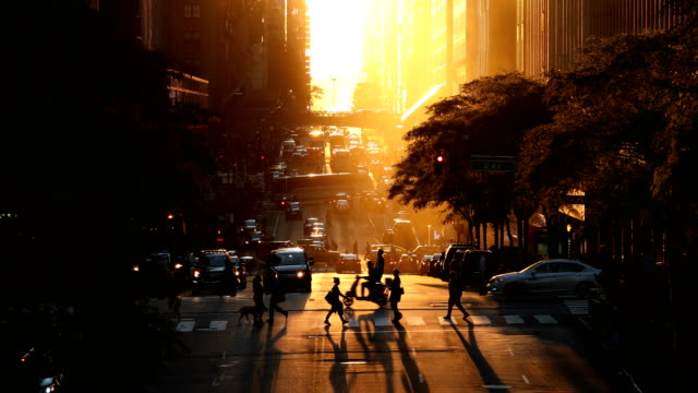 stockvideo's en b-roll-footage met midtown manhattan zonsondergang straatbeeld - straat
