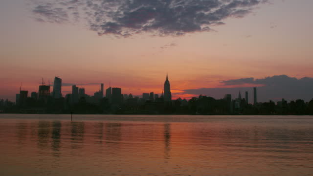 Midtown skyline in New York City during sunset along the Hudson River.