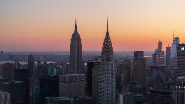 nyc midtown sunset timelapse - empire state building video stock e b–roll