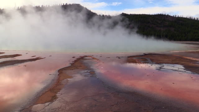 vidéos et rushes de midway geyser basin landscapes, mist rising, autumn in yellowstone national park - piscine thermale