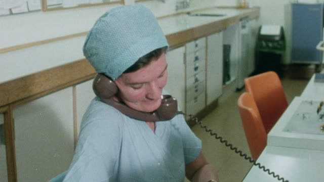 1982 montage midwife and father-to-be transporting expectant mother to delivery room at john radcliffe hospital / oxford, oxfordshire, england - 1982 stock videos and b-roll footage