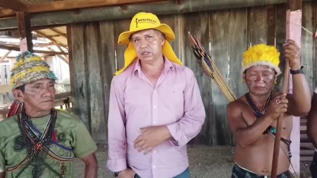 miembros de una tribu indigena amazonica en el norte de brasil pidieron el viernes que se permita a los mineros ilegales buscar oro en sus tierras... - tribu sudamericana video stock e b–roll