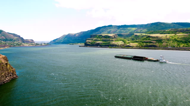 Mighty Columbia River with barge