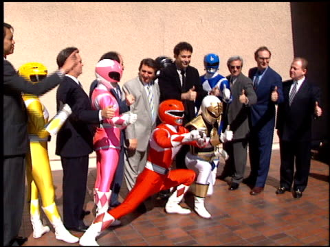 stockvideo's en b-roll-footage met mighty morphin power rangers at the mighty morphin power rangers live at universal amphitheatre in universal city california on october 20 1994 - 1994