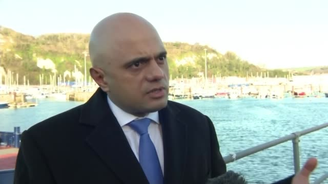 sajid javid claims migrants may not be 'genuine' asylum seekers on dover visit england kent dover sajid javid mp interview sot question has to be... - parlamentsmitglied stock-videos und b-roll-filmmaterial