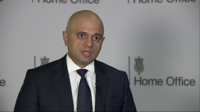 migrant channel crossings: sajid javid interview; england: london: victoria: the home office: int sajid javid mp interview sot - re recent migrants'... - mp stock videos & royalty-free footage