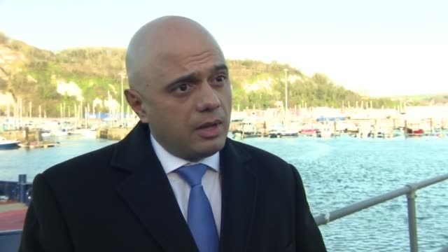 migrant channel crossings: sajid javid visits dover; england: kent: dover: ext sajid javid mp interview sot. - on visiting dover / border force... - mp stock videos & royalty-free footage