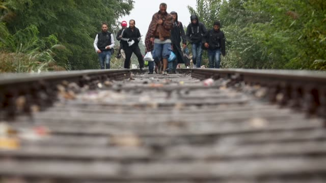 migrants and refugees celebrate as they cross the border from serbia into hungary along the railway tracks close to the village of roszke on... - flüchtling stock-videos und b-roll-filmmaterial