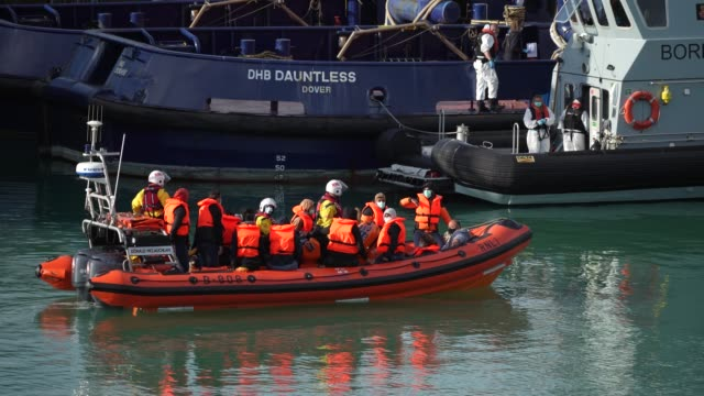 migrants arrive at dover marina after being rescued in the english channel by the rnli on september 07, 2020 in dover, england. last wednesday, more... - sea channel stock videos & royalty-free footage