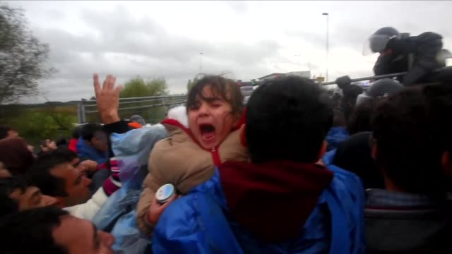 migrants cross the croatia slovenia border after having waited in the cold and rain - croazia video stock e b–roll