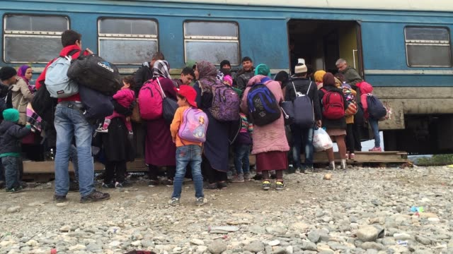 migrants who have arrived from greece attempt to board a train that is bound for the serbian border on october 23, 2015 in gevgelija, macedonia.... - serbia stock-videos und b-roll-filmmaterial