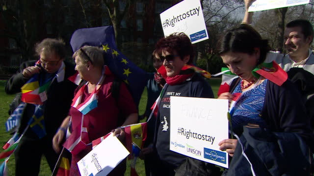 EU migrants workers living in the UK protesting outside Westminster as they want their right to live and work in Britain guaranteed