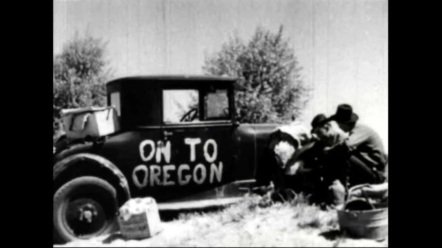 migrants working in field leaving for oregon during dust bowl - dust bowl stock videos and b-roll footage