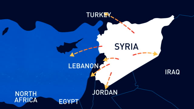 Migration Routes Of Syrian People - Animated Infographic Map