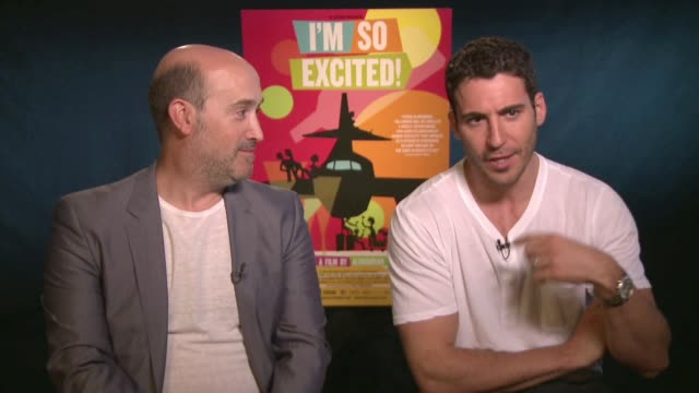 miguel angel silvestre and javier camara talk about what it was like to work with pedro almodovar, camara on what it felt like to have a character... - silvestre stock videos & royalty-free footage