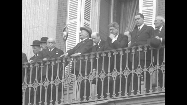 miguel primo de rivera and group of people standing on balcony of madrid building with inscription on ext of building ministerio del ejercito /... - dictator stock videos & royalty-free footage