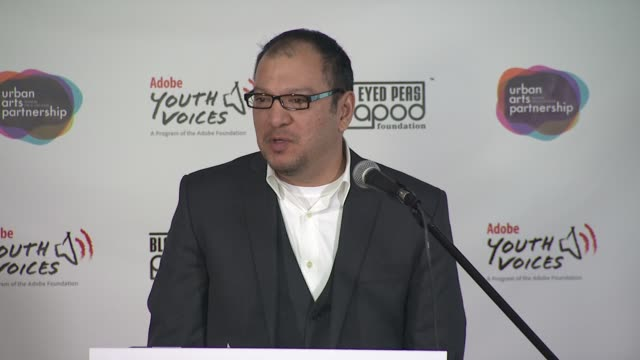 miguel salinas senior manager adobe youth voice at the black eyed peas at the peapod adobe youth voices academy launch at urban arts partnership in... - adobe material stock videos and b-roll footage