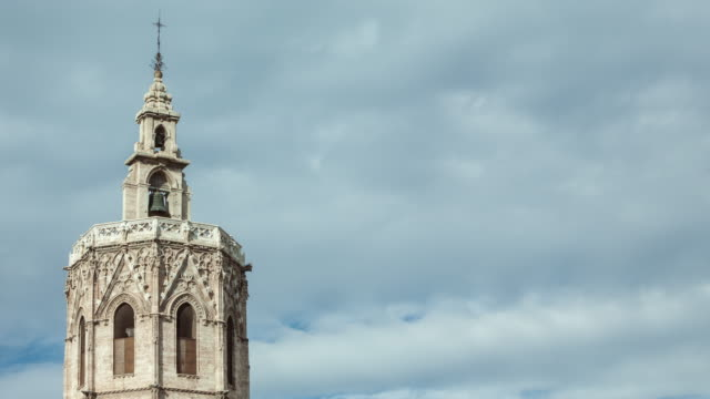 miguelete tower in valencia - monument stock videos & royalty-free footage